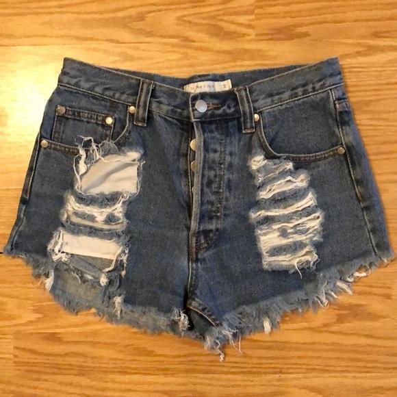 MINKPINK Pants - Mink Pink Thrasher Jean Shorts
